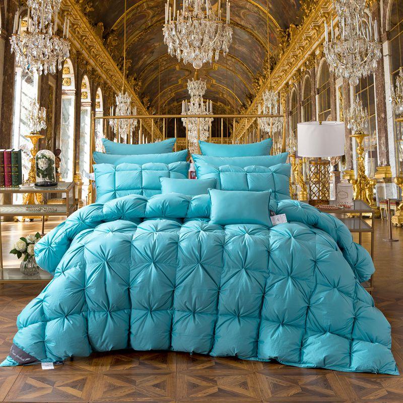 TUTUBIRD Bleu Canard/Oie Vers Le Bas Pain Couette De Luxe Hiver couverture chaude couette 2.7 ~ 4.2 kg Charge Double Roi de Reine taille