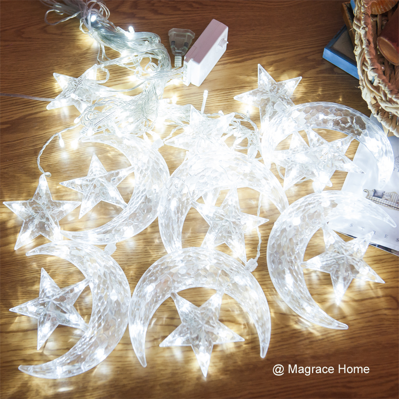 2.5M Moon Twinkle Star Curtain Lights LED Fairy String Light Christmas Lighting for Holiday Wedding Party Decoration Multicolor