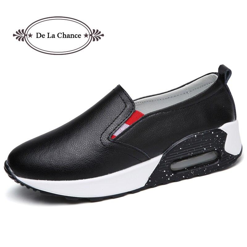 White black Mocassin forme La Occasionnel Plate Chaussures De Chance Noir En Sur Dames Femmes Plat Slip Mocassins Split Femme Cuir HxXZUX