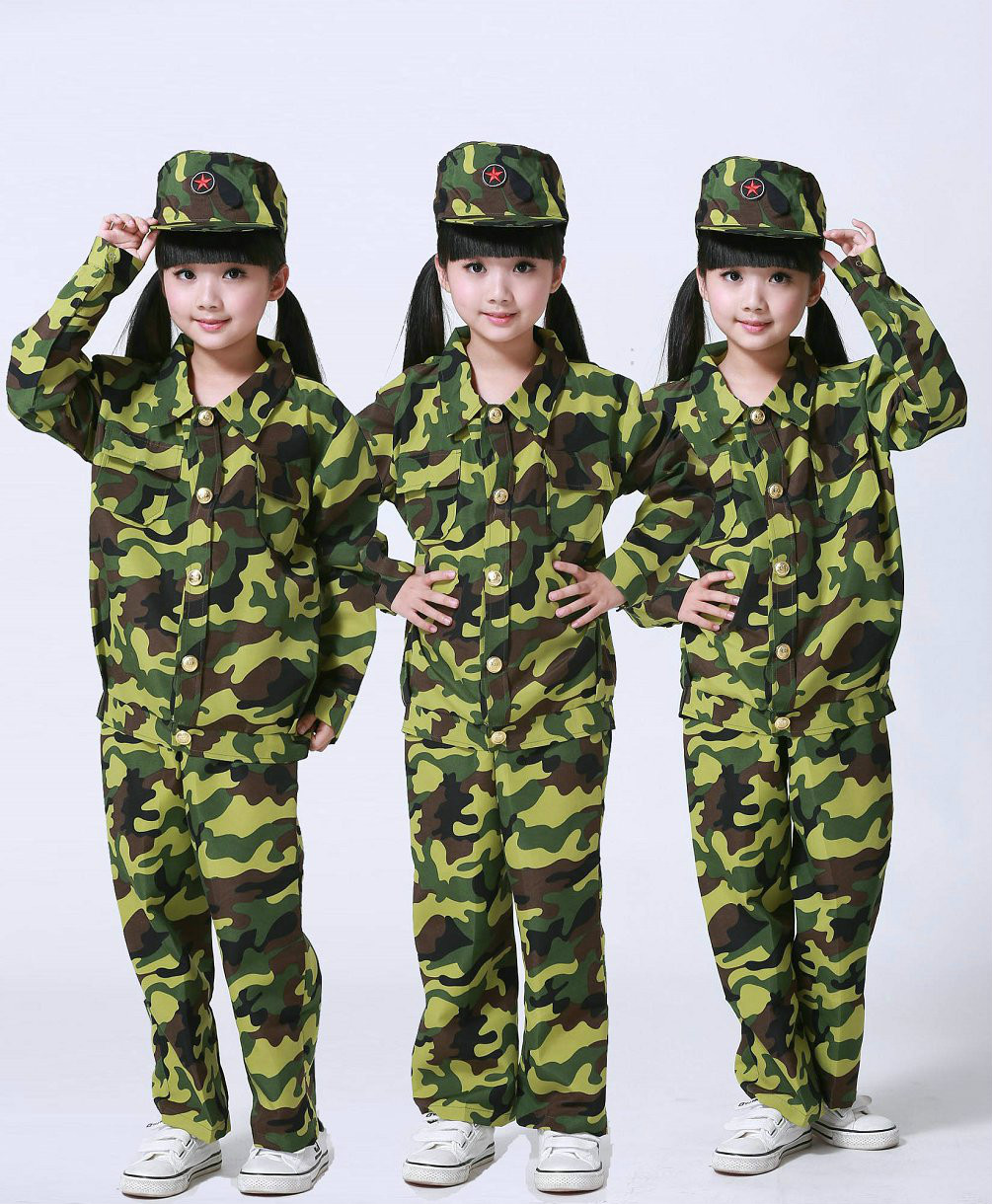 Childrens Military Uniform Camouflage Clothing Tactical Camouflage Paintball Uniform for Kids Outdoor School Military Training