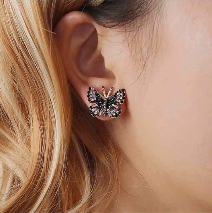 Promotion Luxury Dance Trippingly Butterfly Rhinestone Stud Earrings Women Brincos Earrings Bijoux Jewelry Gift E5171