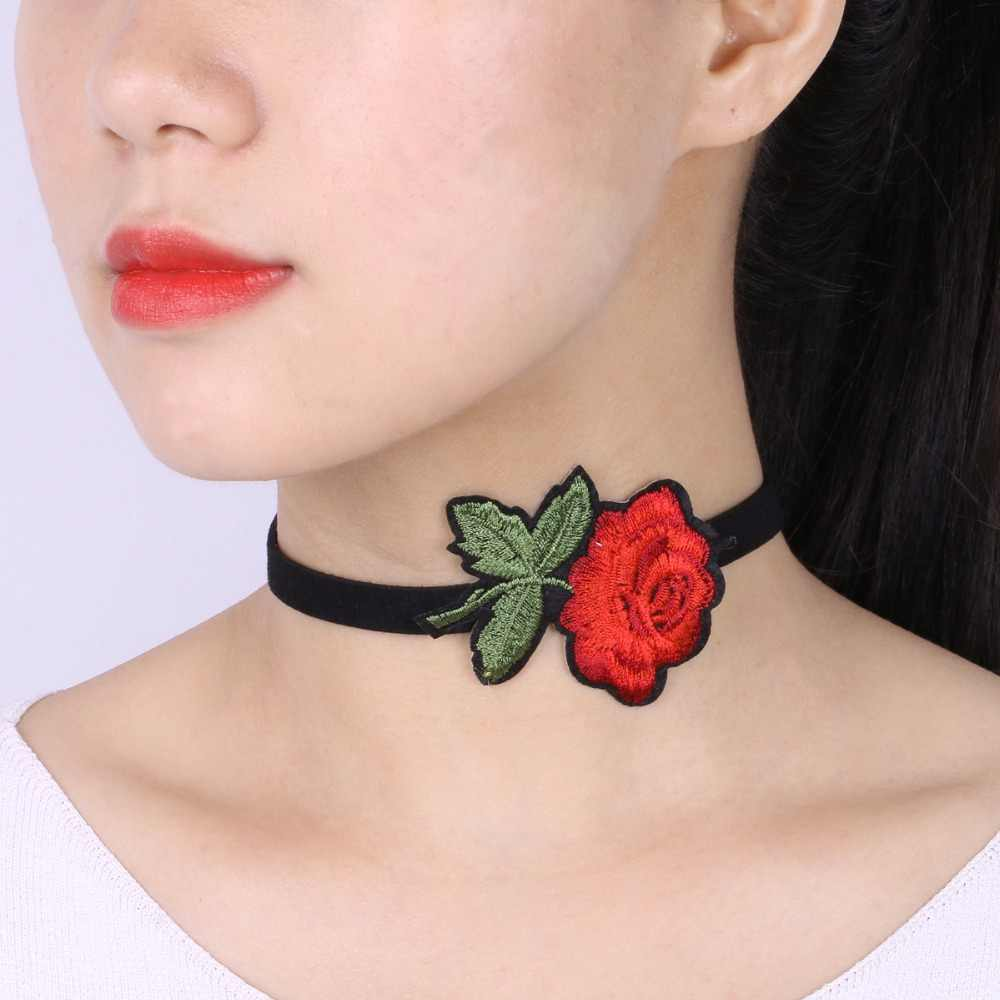 Fashion Women Jewelry Black Chokers Red Flower Necklaces Embroidery Rose Velvet Choker Necklace Collar Gift Sexy Gift N3893