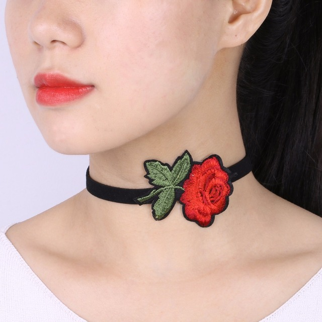 Fashion Women Jewelry Black Chokers Red Flower Necklaces Embroidery Rose Velvet
