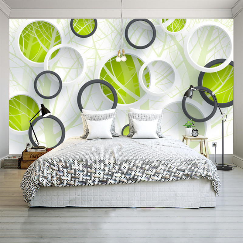 Custom 3D Photo Wallpapers Modern Abstract Art Painting Wall Mural 3D Circles Living Room Bedroom Sofa TV Background Wall paper custom 3d photo wallpaper 3d circles leaves modern simple art living room tv backdrop wall paper mural painting papel de parede
