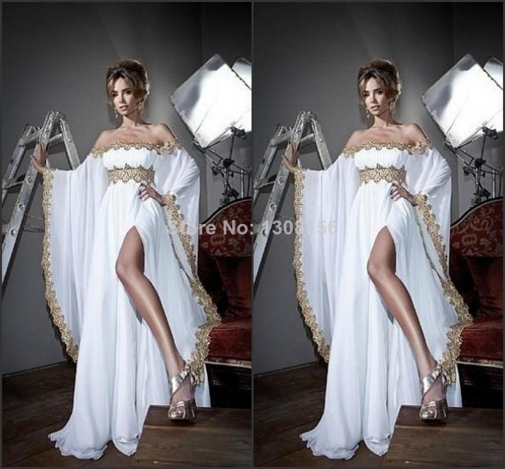 Ihram Kids For Sale Dubai: New Arrival 2014 Elegant Off Shoulder White Chiffon Gold