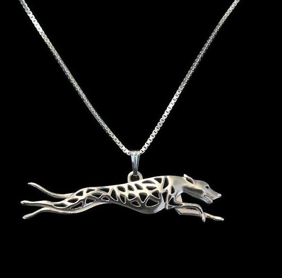 50cm Italy grey hound dog metal 3D maxi Greyhound running silver pendants necklaces pets dogs charms women fashion jewelry gifts