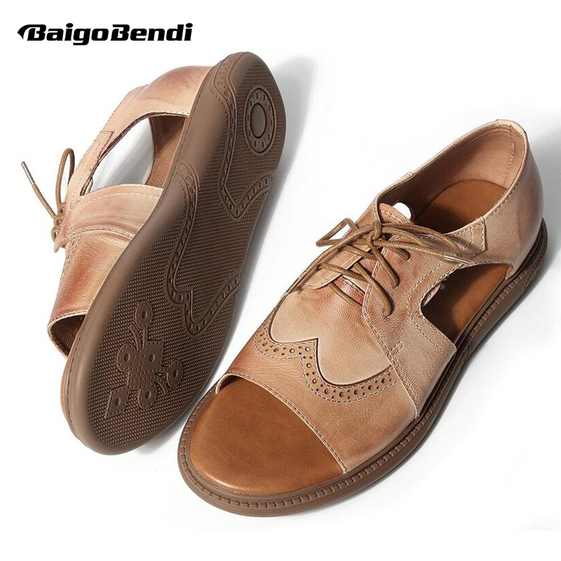 2018 New Arrival!! REAL Leather Leisure Men Gladiator Slip On Lace Up Brogue Sandals Boys Trendy Casual Summer Beach Shoes