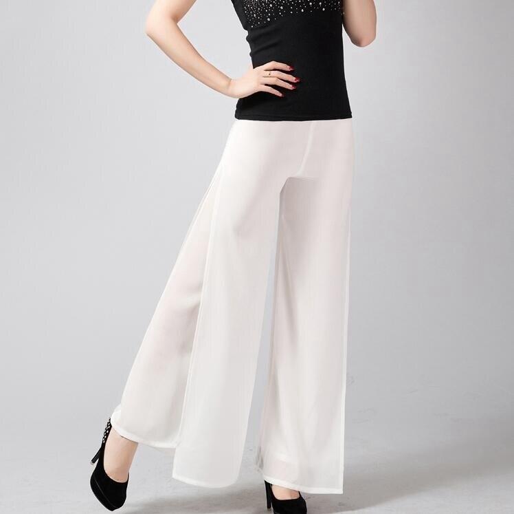 #5410 Summer High Waist Solid Color Chiffon   Wide     leg     pants   Women Loose Pantalon femme Double Layer Full length Female Trousers