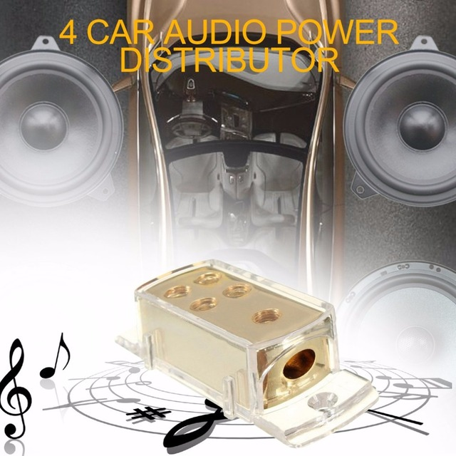 kebidumei Auto Car 4 Ways Audio Stereo Amp Power Ground Cable Splitter  Distribution Block Car Audio Power Splitting Equipment-in Cables, Adapters  &