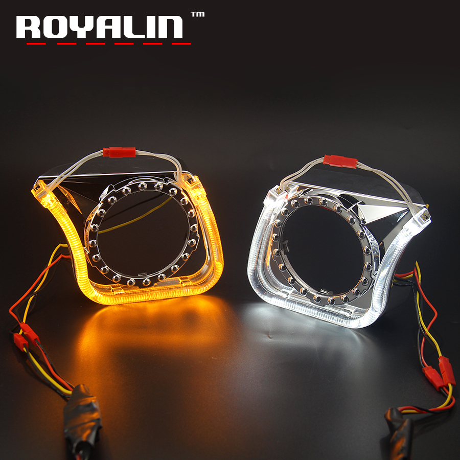 ROYALIN LED Switchback Clignotants DRL Angel Eyes Haubans Halo Anneaux U Type pour Koito Q5 Hella Bi Objectif Du Projecteur Blanc Jaune