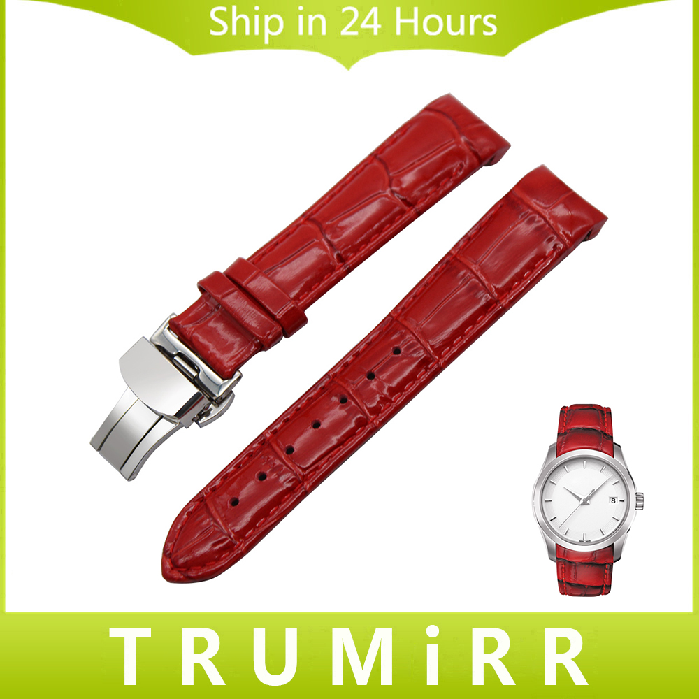 Curved Genuine Leather Watch Band 18mm for Tissot Couturier T035 Lady Strap Butterfly Clasp Wrist Bracelet