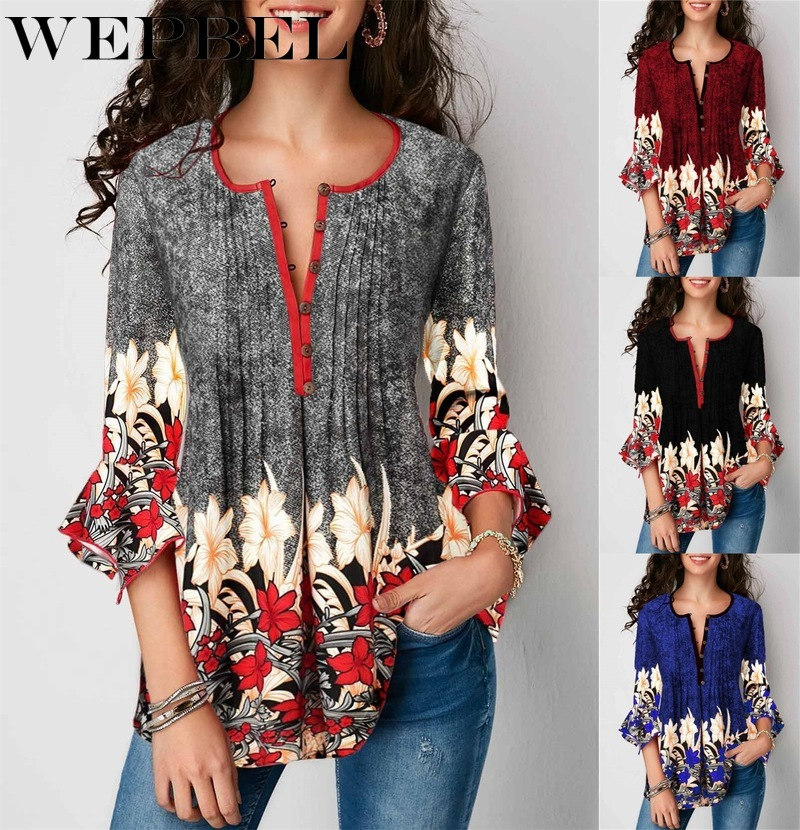 WEPBEL 2019 Summer Women V-neck Blouse Casual Seven-Sleeve Shirt Ladies Printed Lotus Sleeve Tops Female Plus Size(China)