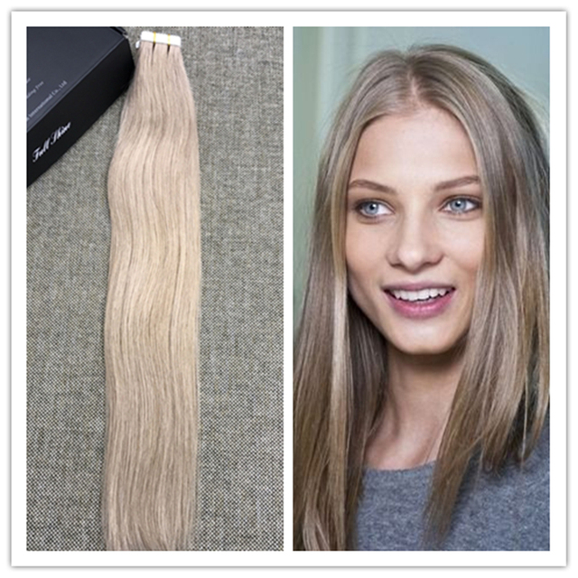 Full shine ash blonde color 18 tape extensions pure color straight full shine ash blonde color 18 tape extensions pure color straight hair extension brazilian remy hair pmusecretfo Image collections