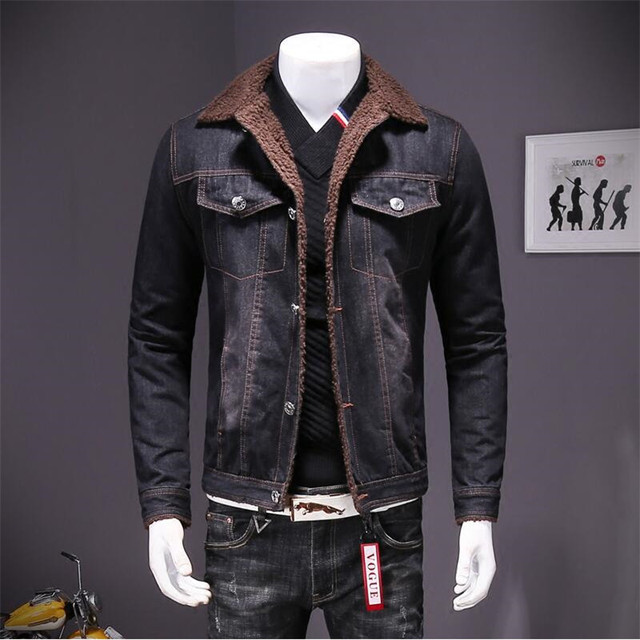 1593a9e1aff Denim Coat Men Thicken Warm Coats man winter Casual Retro single breasted  solid Color Outerwear Plus Denim Jacket For Men A4107