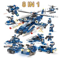 8in1 Military Army Helicopter Legoed Assemble Compatible Legod Building Blocks Children Educational Toys Model Bricks Gifts