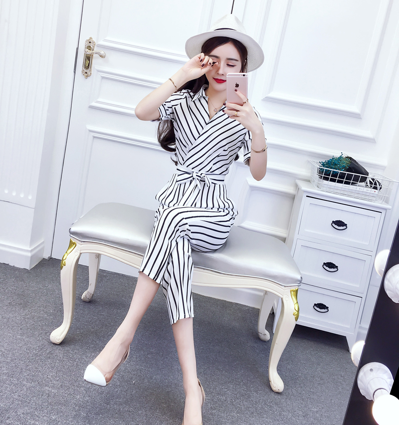 Korean Fashion Chic V Neck Rompers Elegant Bow Pocket Striped Casual Brief Pocket Belt Rompers Womens Jumpsuit 10