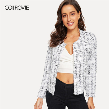 COLROVIE White Plaid Frayed Edge Tweed Open Placket Elegant Coat Women Outerwear 2019 Spring Korean Office Ladies Vintage Tops