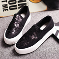 Free shipping black and white sequins a pedal canvas shoes muffin shoes casual loafers