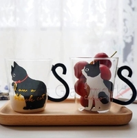 Glass cat cup personalized milk cup gift 250ML heat-resistant microwave use