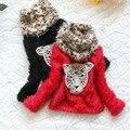 Meninas de inverno Blusas De Lã De Moda Malha Cardigan Meninas Tigre Impresso Leopard Scarf Crianças Pullover Menina