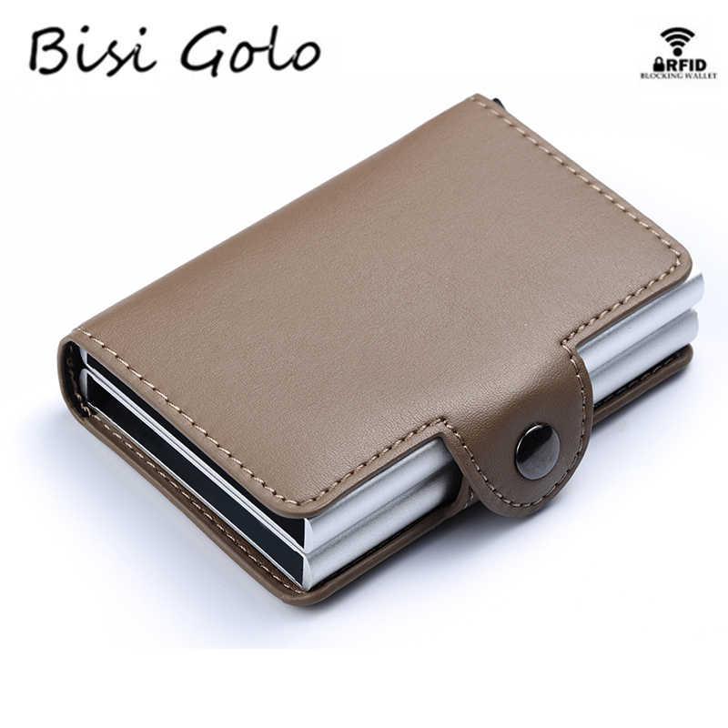BISI GORO PU Leather Smart Wallet Aluminium Dubbele Dozen Credit Kaarthouder Anti-diefstal RFID Card Case Business Nieuwe korte Portemonnee