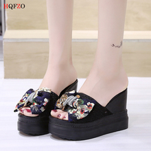 HQFZO Wedges Chanclas Mesh Lace Bowknot Slippers Women High Heel Beach Flip Flops Summer Platform Sandals Zapatos Mujer Shales