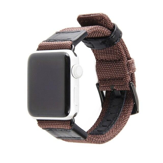 Bracelet en cuir de toile pour bracelet de montre Apple montre 5 4 3 bandes 44mm/40mm iwatch 5 42mm/38mm bracelet en Nylon tissé bracelet de montre ceinture