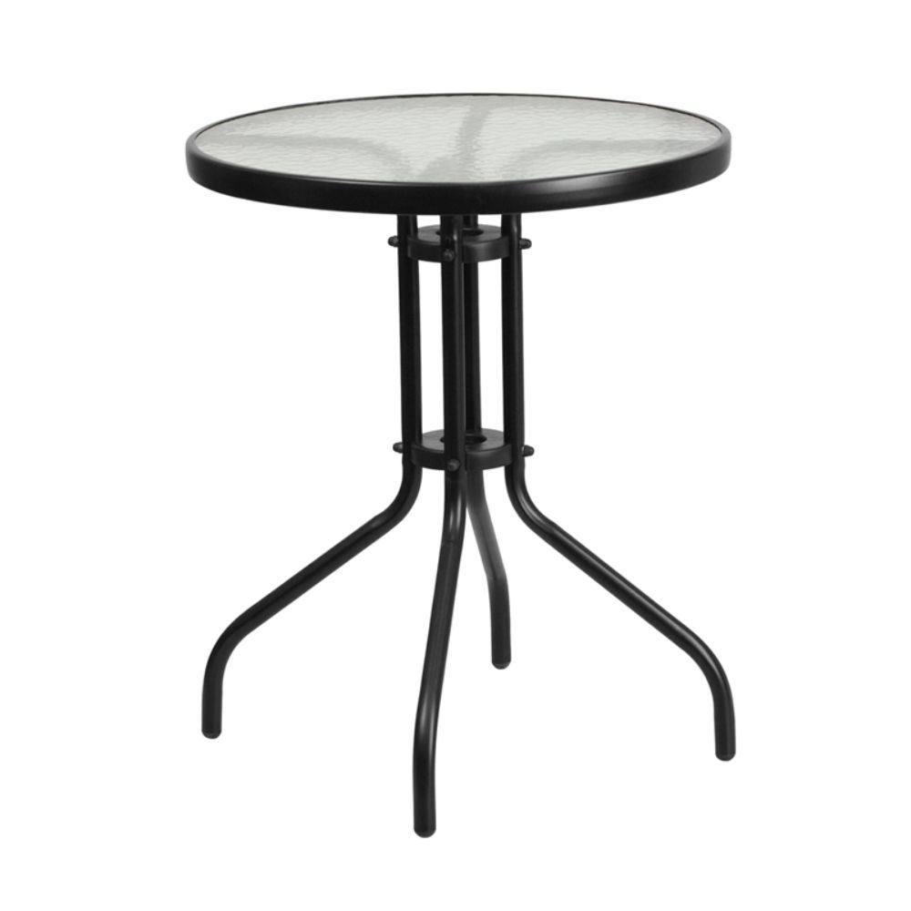 Round Tempered Glass Metal Table [TLH-070-1-GG] цена