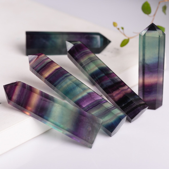 Natural Fluorite Crystal Colorful Striped Fluorite 4-6.5CM Quartz Crystal Stone Point Healing Hexagonal Wand Treatment Stone