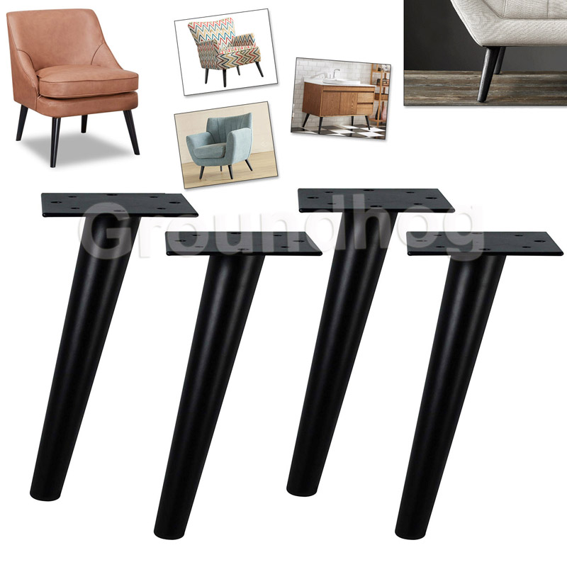 4pcs Furniture Feet 29.5cm Matt Black Metal Tapered  Table Sofa Cabinet Legs Cupboard Chairs Feet With Mounting Screws