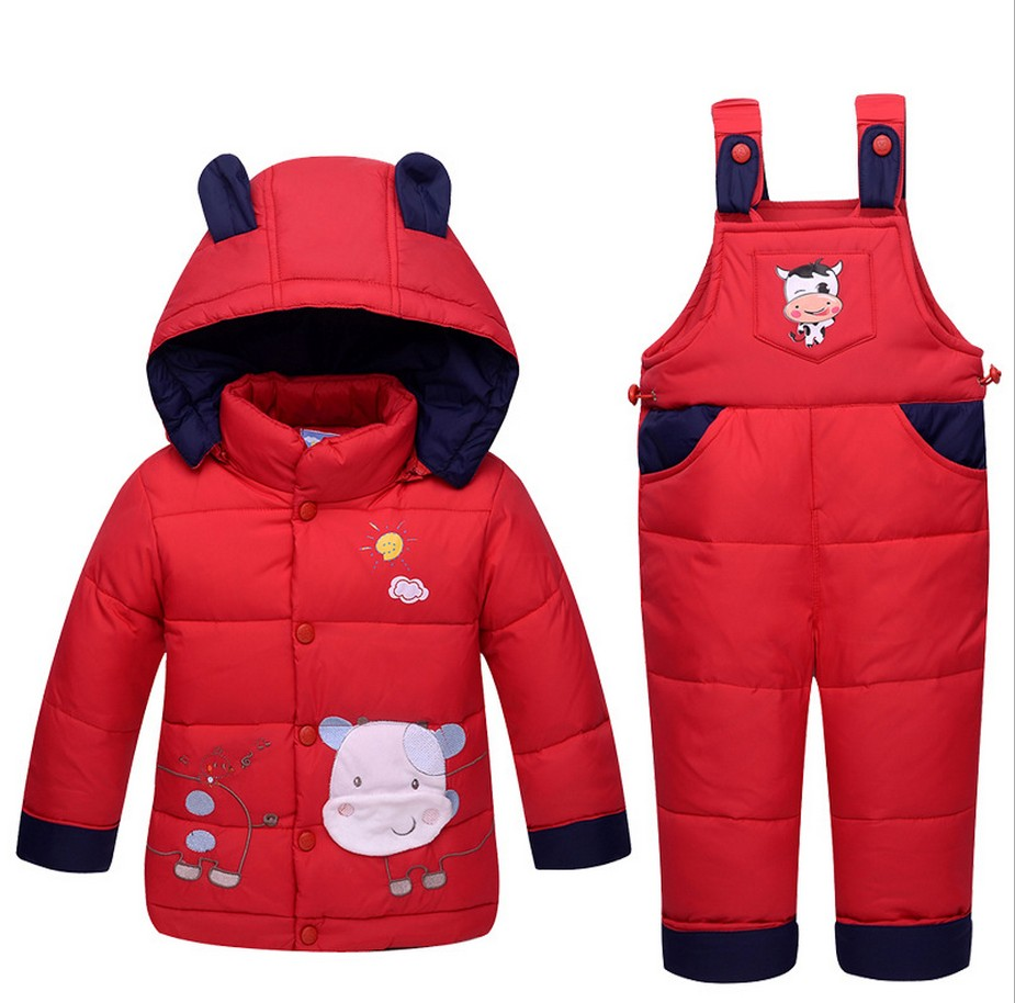 New Style 2017 Winter Baby Girls Boys Clothes Sets Cartoon Down Coat+Bib Pants Kids Warm Thickening Suits Outdoor Children Suits high quality children winter outerwear 2017 baby girls down coats jacket long style warm thickening kids outdoor snow proof coat
