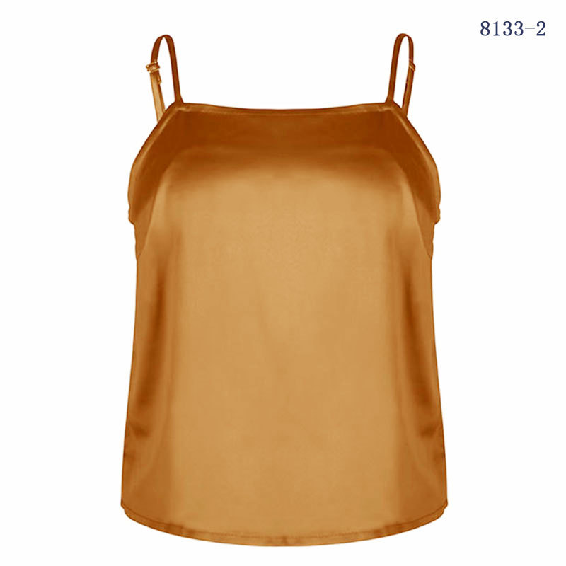 2019 New Red Green Yellow Small Chiffon Camisole Multicolor Polyester Sleeveless Comfortable Casual Solid Slim Sling Tank Tops in Camis from Women 39 s Clothing
