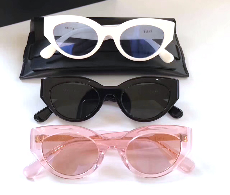 Tazi V brand Retro Thick Frame Cat Eye Sunglasses Women Ladies Fashion Brand Designer pink Lens