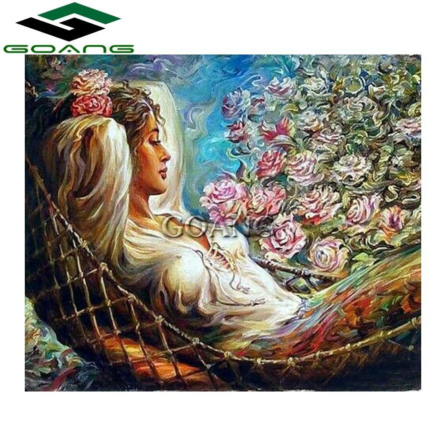 GOANG 5D DIY Diamond Painting Cross Stitch Rose Beauty Woman Diamond Embroidery Mosaic Painting Rhinestones Home Decoration Gift