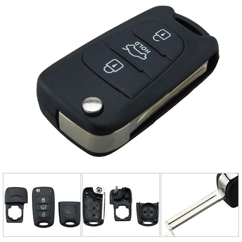 3 Button Remote Folding Flip Key Shell Case For Hyundai I20 I30 I35 Avante Solaris KIA Rio Ceed Sorento Sportage