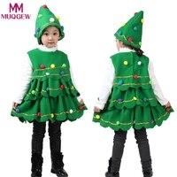 유아 어린이 아기 소녀 트리 의상 어린이 옷 털복숭 민소매 드레스 최고 파티 조끼 + 모자 겨울 의상