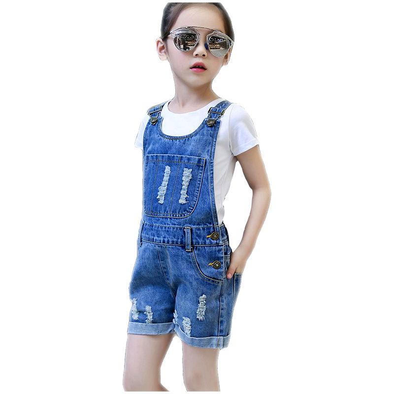 Spring and Summer Girl Summer Jeans Girl Ripped Denim Shorts Overalls Kid Jeans Overalls Bib Overalls Shorts italian style fashion men s jeans shorts high quality vintage retro designer classical short ripped jeans brand denim shorts men