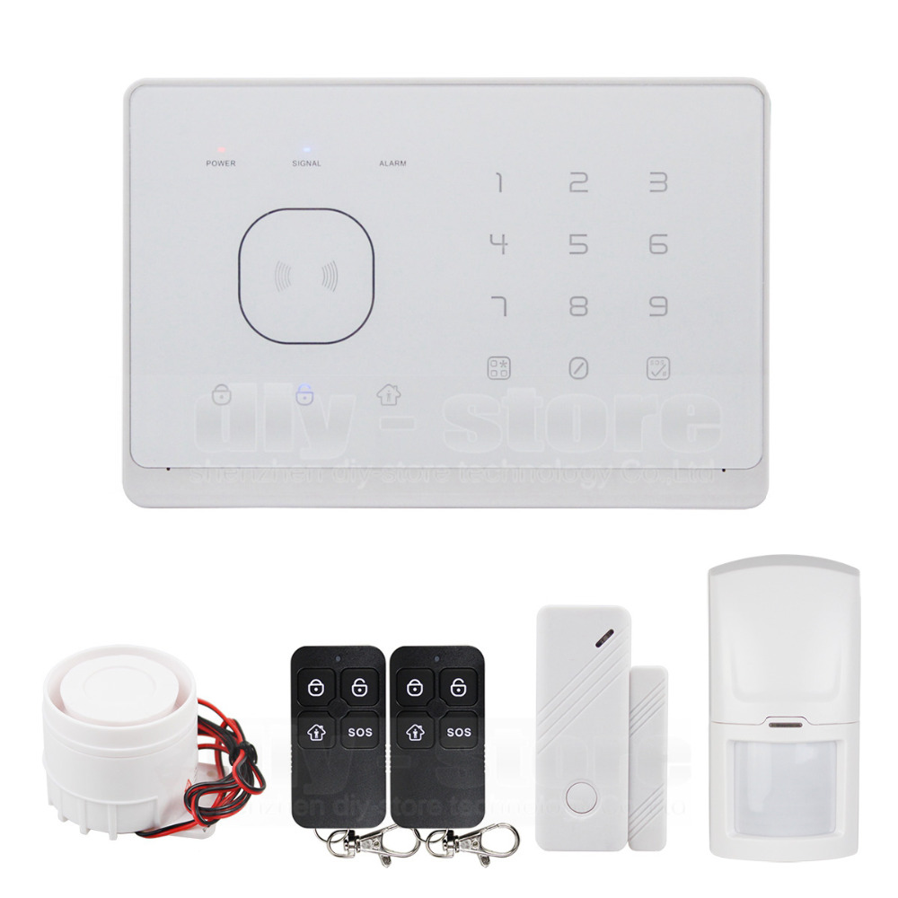 DIYSECUR GSM RFID font b Alarm b font System with Touch Screen and SMS RIFD APP