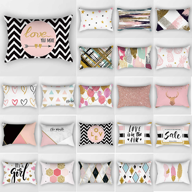 Fashion Pink English Letters Travel Pillow Cases Rectangle Creative Pattern Two Sides Printing Pillow Covers 50*30cm