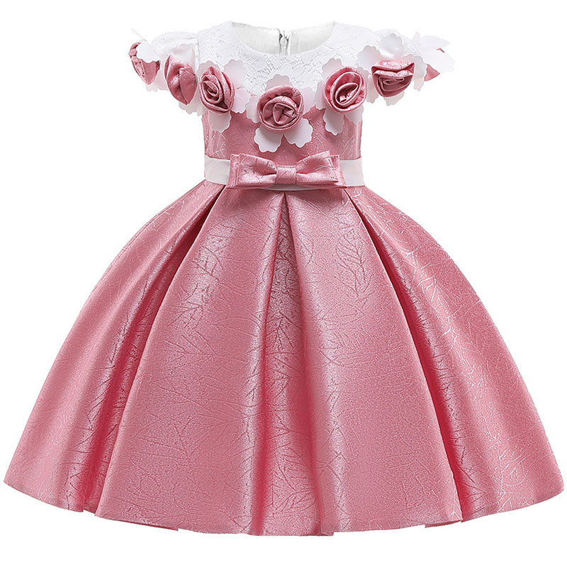 Christmas Clothes Princess Dress Big Bow Elegant Flower Birthday Party Baby Girl