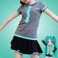 Anime Hatsune Miku Camiseta de Algodón de Manga Corta Ropa Cosplay de La Muchacha Ocasional Linda Camiseta de La Nueva Manera