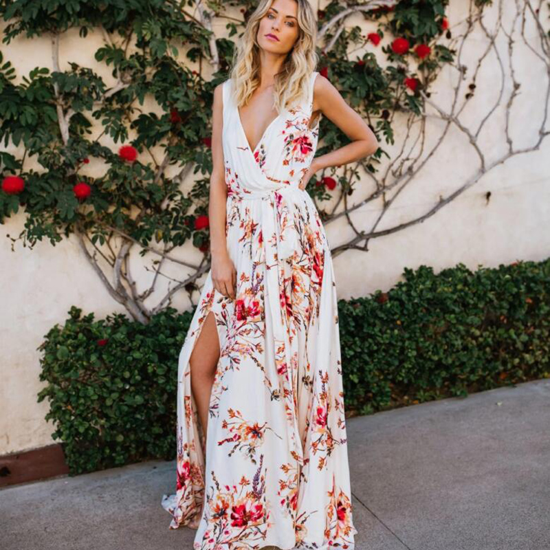 Bow Floral Print Long Sress Women Deep V Neck Summer Sleeveless Dress Female Casual Beach Chiffon Boho Maxi Slit Dress Vestidos