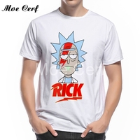2017 Summer New Anime Cool Rick Morty Men T Shirt Cartoon Rick Bowie Print O Neck