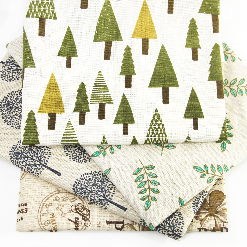 Fabric tree pattern - 50 150cm Leaf Flower Tree Snowflake Printed Linen Fabric For Tissue Kids Bedding Home Textile For Sewing Tilda Doll C835