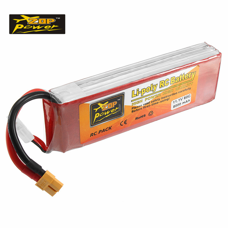 Rechargeable Lipo Battery ZOP Power 11.1V 5000mAh 3S 60C XT60 Plug Connector For RC Quadcopter Spare Parts RC Models 2018 rechargeable zop power 7 4v 1000mah 2s 25c lipo battery jst plug connector for rc drone fpv quadcopter diy toys spare parts