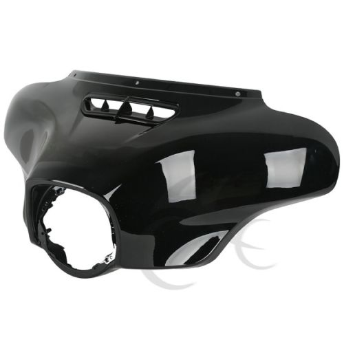 Black Front Outer Fairing For Harley Touring Street Glide Electra Glide Ultra Classic FLHR FLHX FLHTC FLHT 14-18 2x chrome motorcycle hard saddle bag saddlebag lid accents decals for harley touring glide flhx flht flhr mbt007