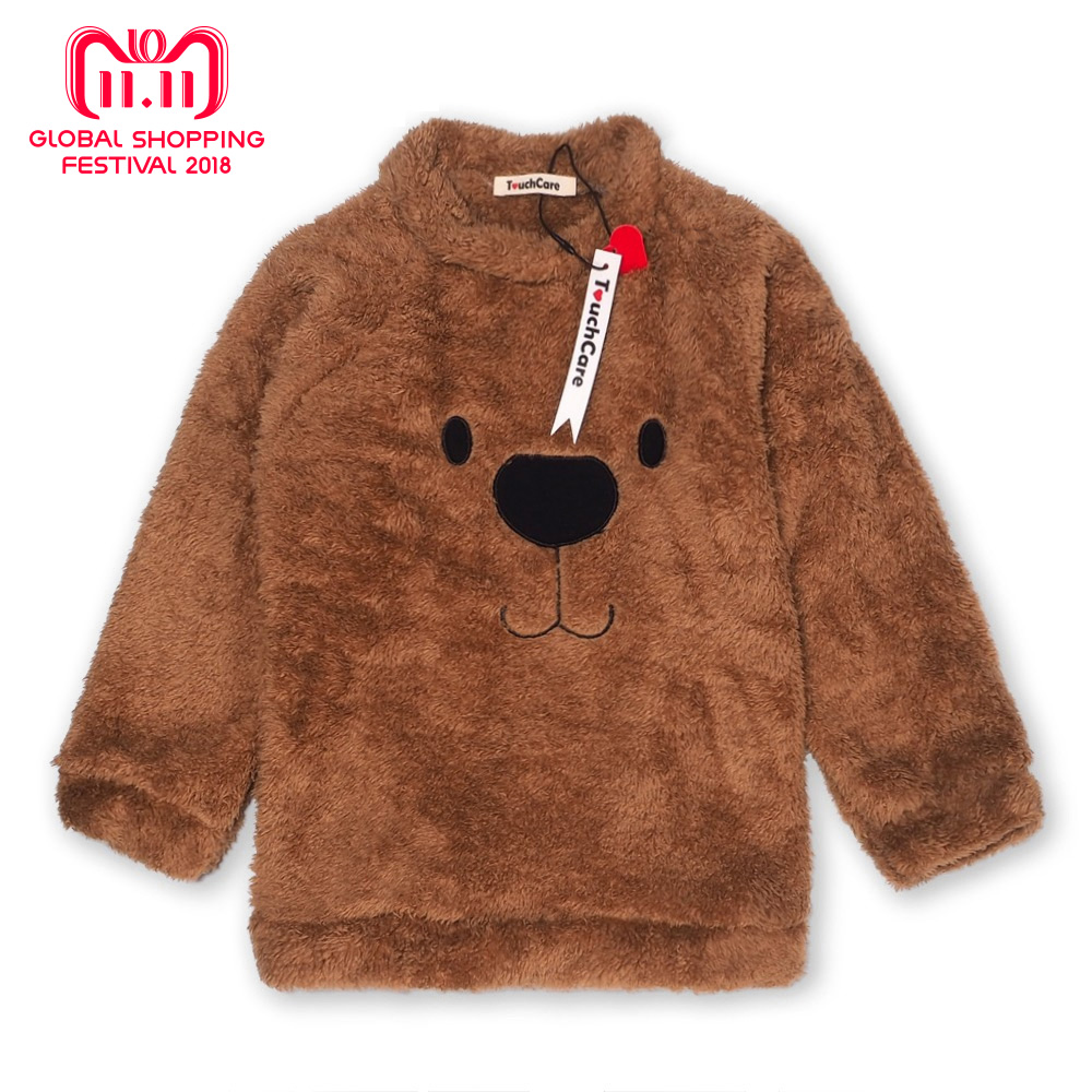 Newborn Winter Warm Thick Fleece Baby Sweaters Infant Cute Cartoon Animal Bear Kids Pullover Long Sleeve T-shirts Toddler Blouse side slit fleece drop shoulder pullover hoodie