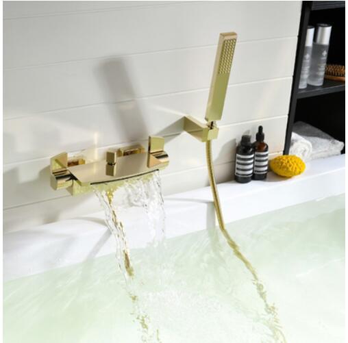 HTB13Q3yXkY2gK0jSZFgq6A5OFXaw Wall Mounted Brass Bathroom Gold Waterfall Bathtub Faucet set Square hand held Shower Faucet Sets Bathtub Faucet Set