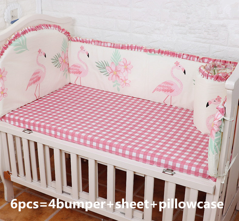 Discount 6pcs Flamingo Baby Bedding Bumper Set Crib For Infant Baby Bed Around Child Bedding (4bumpers+sheet+pillow Cover)