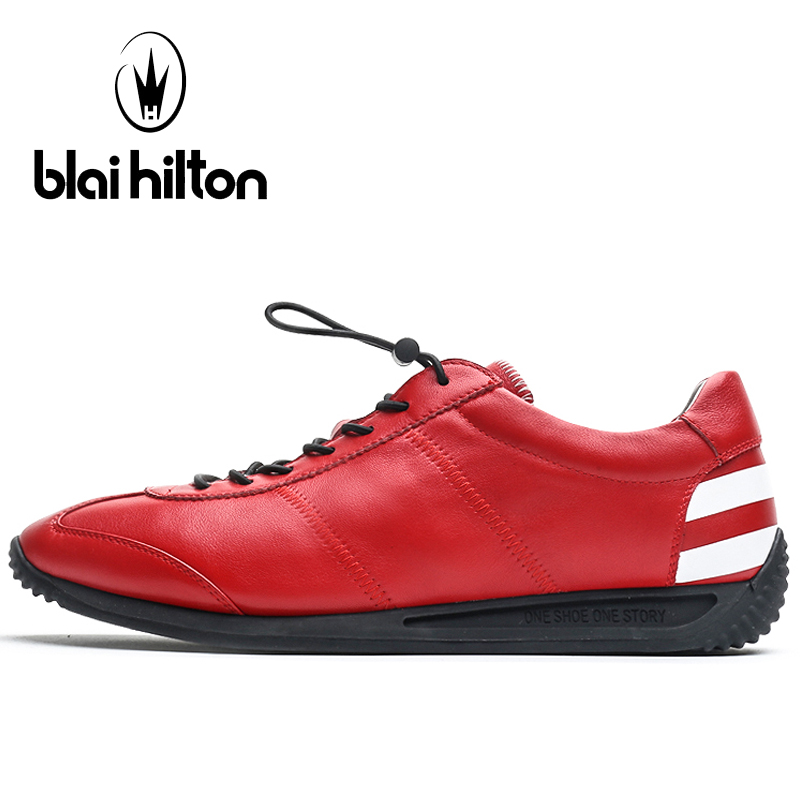 Blaibilton Genuine Leather Running Shoes For Men Elastic band Men's Sneakers Summer Breathable Sport Shoes Man Brand Run Shoes тушь для ресниц make up factory make up factory ma120lwkhl11